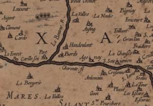 Carte-du-pais-de-Xaintonge-par-Hondius-17eme-Bords